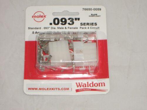 "MOLEX 76650-0059 .093/"" 4 CIRCUIT POWER PLUG RECEPTACLE SOCKET SET OF 2 W// PINS"