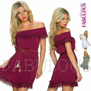 New-Sexy-European-Off-Bare-Shoulder-Dress-Casual-Summer-Party-Size-6-8-10-XS-S-M