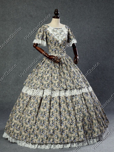 1840-1850s Dickens Victorian Costuming for Women    Victorian Southern Belle Civil War Floral Gown Dress Period Theater Costume 168  AT vintagedancer.com