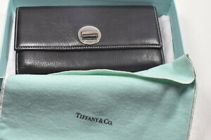 Tiffany-amp-Co-Manhattan-Collection-Black-amp-Blue-Continental-Leather-Wallet-VGC