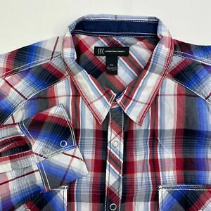 INC-International-Concepts-Button-Up-Shirt-Mens-XXL-Long-Sleeve-Multicolor-Plaid