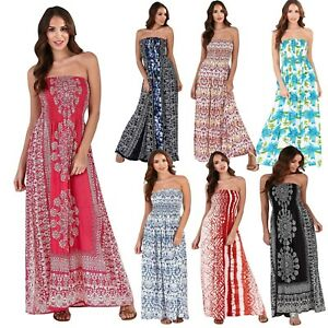 Ladies-Bandeau-Strapless-Full-Length-Cotton-Beach-Summer-Sun-Dress-Long-Maxi