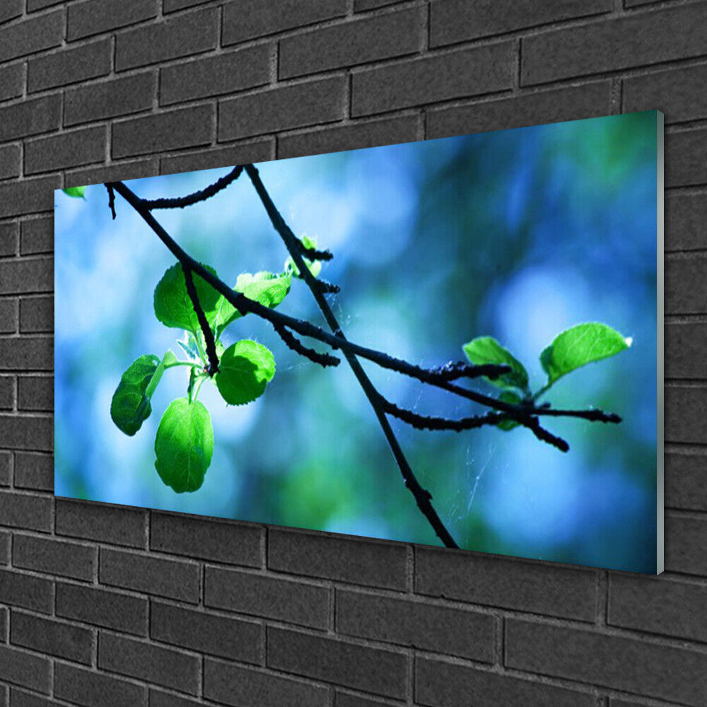 Tableau sur verre Image Impression 100x50 Floral Feuilles Branche