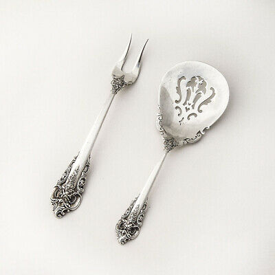 Grande Baroque by Wallace Sterling Silver Pickle Olive Fork No Mono