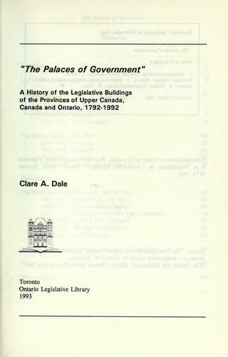 Palaces of Government : A History of the Legislative Buildings of the Provinces
