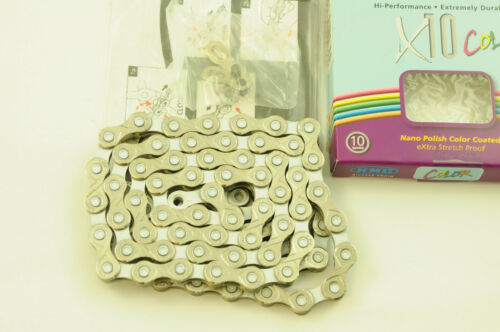 KMC X10 COLOR WHITE COLOURED 10 SPEED CHAIN 114 LINK ROAD MTB SUIT SHIMANO SRAM