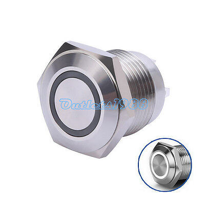 16mm Stainless Steel Momentary Push Button Switch with White LED