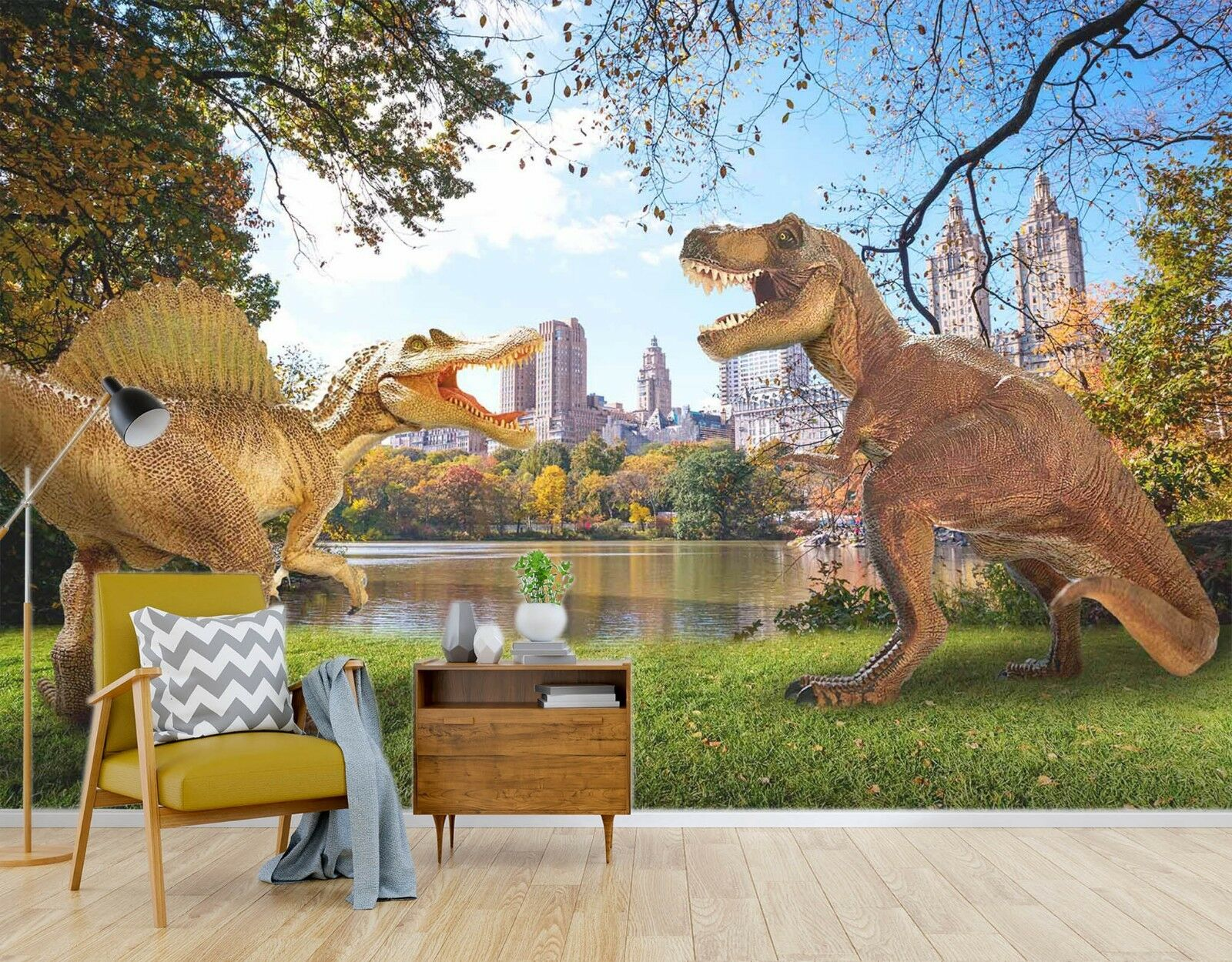 3D City Park Dinosaurs 12 Wallpaper Mural Wall Print Decal Indoor Murals AU
