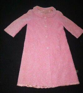 Vtg-50s-Ladies-Pink-Velvet-Coat-Housecoat-Gold-Silver-Lame-Threads-Lined-S-M