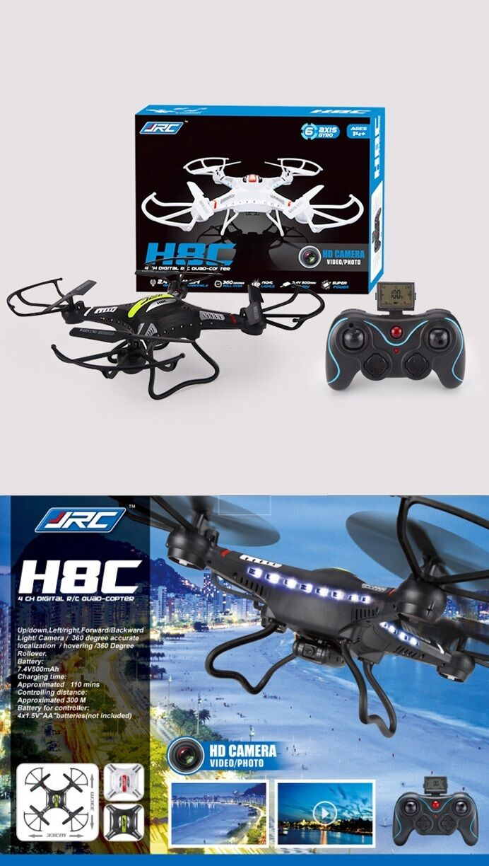Genuine JJRC H8C 2.4G LCD FPV Drone 2MP Quadcopter Helicopter Plane SD Card
