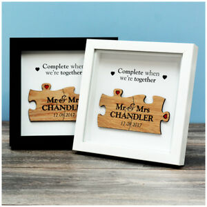 5ecf8264ef2da Puzzle Piece Engraved Box Frame First 1st Wedding Anniversary Gifts ...