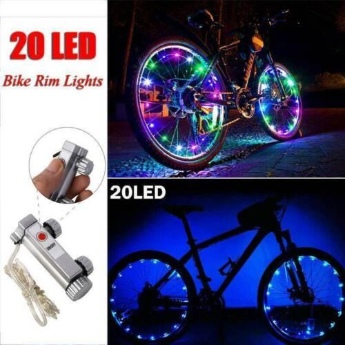20LED Cycling Bicycle Bike Rim Lights LED Wheel Spoke Light String Strip Decor .