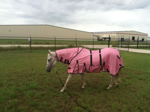 Horse Bug Mosquito Fly Sheet Summer Spring Airflow Mesh UV Neck Pink 73128