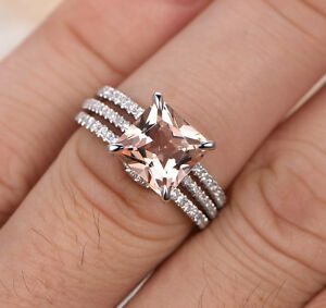 image is loading 8mm princess cut morganite wedding diamond trio ring - Morganite Wedding Ring Set