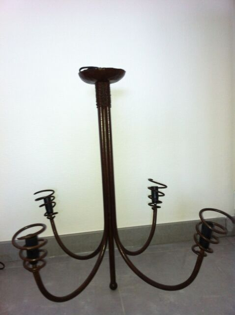 Lustre 4 branches fer forgé marron artisanat marocain
