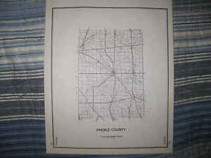 Details About Antique 1940 Preble County Eaton Ohio Highway Map Township Road Rare Nr