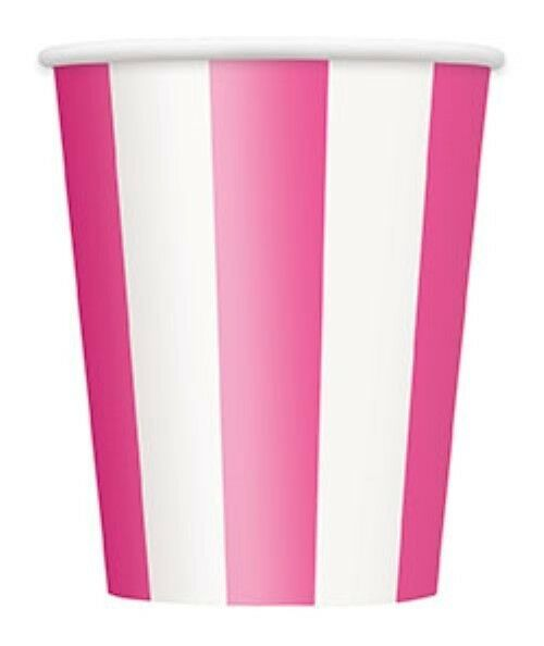 HOT PINK STRIPES Tableware, Decorations, Balloons & Party Items Range