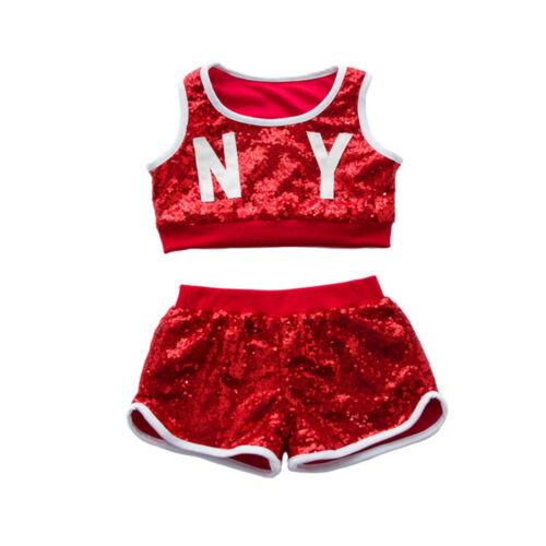 Boys Girls Children Modern Jazz Hip-Hop Dancewear Kids Dance Sequins Costumes