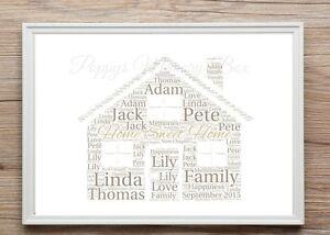 Personalizzato-New-Home-Casa-Word-Art-regalo-ricordo-inaugurazione-Casa-di-stampa