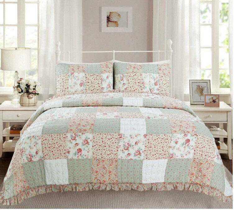 100% Cotton Classic Country Multi-Farbes Floral Patchwork 3 pcs King Queen Quilt