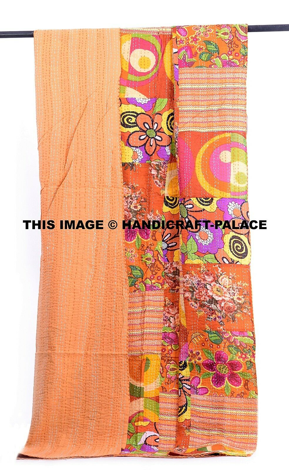 Cotton Gudri Kantha Quilt Indian Patchwork Bedspread Bedcover Throw Twin Blanket