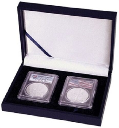 Leatherette Style Display Box for 2 Slab Certified Coin Holder Case PCGS NGC ANA