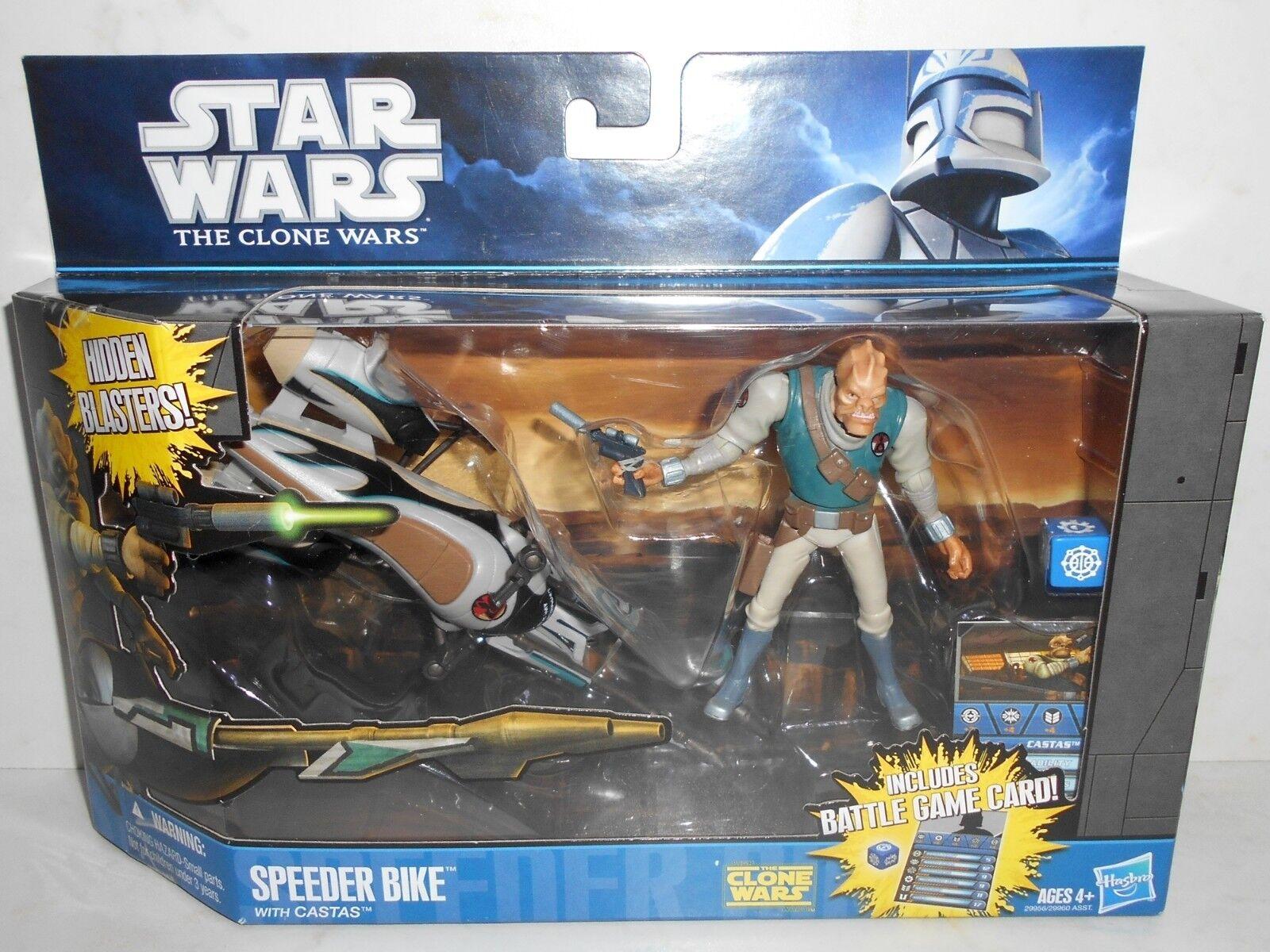 Brand New Hasbro 2010 Star Wars The Clone Wars 29956 SPEEDER BIKE With CASTAS 4+