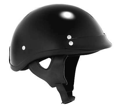 Skid Lid Traditional W// Visor Flat Black Motorcycle Low DOT Half Helmet MD