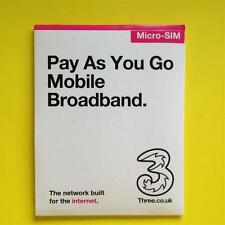 3G/4G Three Pay As You Go Mobile Broadband Micro SIM Card Official PAYG Pack