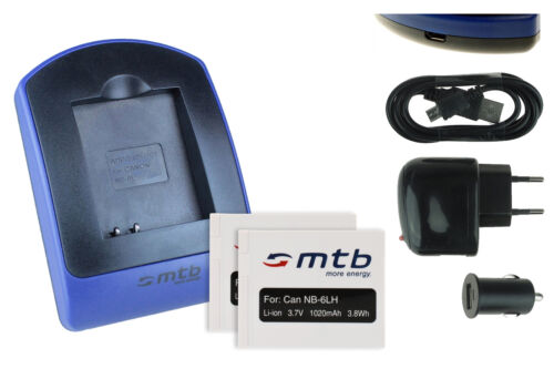 2 Akkus SD980 IS SD770 IS USB-Ladegerät NB-6L für Canon PowerShot S120
