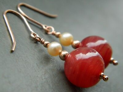 Art Deco Red Banded Manganese Glass Beads Pearls 14K Rolled Rose Gold Earrings