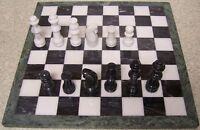 Chess Set With Marble 16 Board & Black And White Pieces 3 3/8 Kings