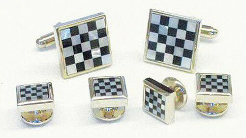 Checker Board Genuine Onyx and Mother of Pearl Cufflinks and Studs