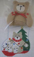 Handpainted Needlepoint Canvas Kathy Schenkel Teddy Bear Mini Sock Stocking 227A
