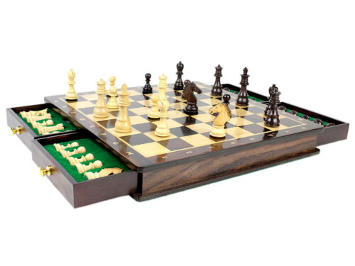 """Magnetic Chess Set Pieces Rose wood Galaxy Staunton King Size 3/"""" with Board//Box"""
