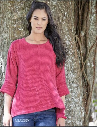 CMC by COLOR ME COTTON USA  5369  Cotton CHENILLE A-Line POCKET Top  2017 FALL