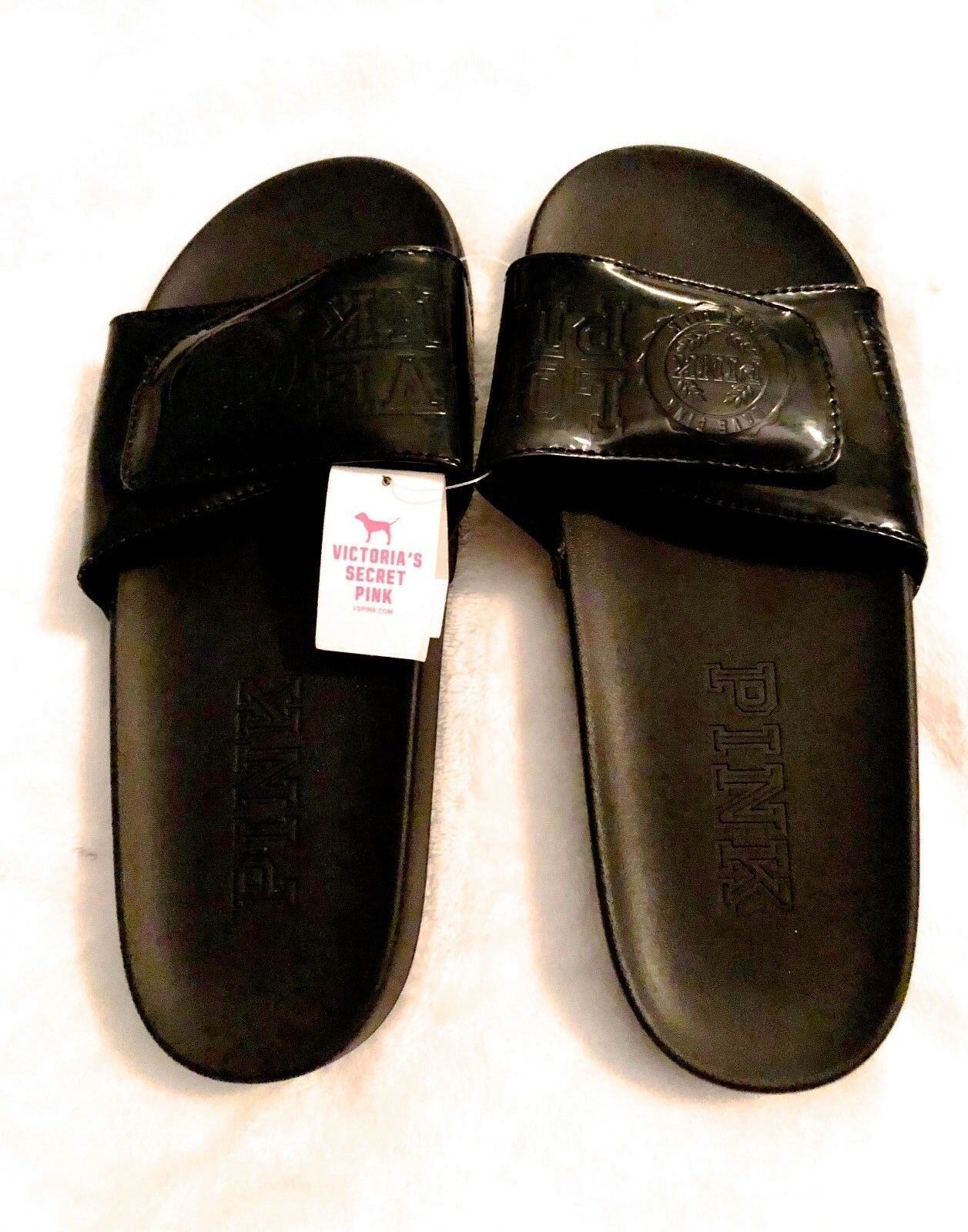 Victoria's Secret BLACK w/ BLACK CREST SPRING SHINY SMALL  Slides SPRING CREST BREAK! NWT df3d31