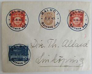 1943-Cover-Schweden-MALMO-Barnens-DAG-Sonderstempel-Sverige-Briefmarken-Stempel