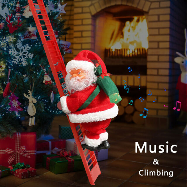 Animated Musical Mr. Christmas Santa Climbing Stepping Ladder Tree Decoration For Sale Online | EBay