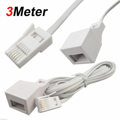 1M to25M RJ11 UK Male to US Female Broadband Telephone ADSL Extension Cable Lead