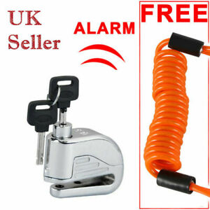 1x-6mm-Anti-theft-ORANGE-Motorcycle-Motorbike-Bike-Disc-DISK-Lock-ALARM-amp-2-KEYS