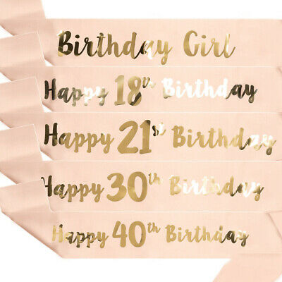 New Birthday Girl Party Sash Badge Banner Decoration 16th 18th 21st 30th 40th 50