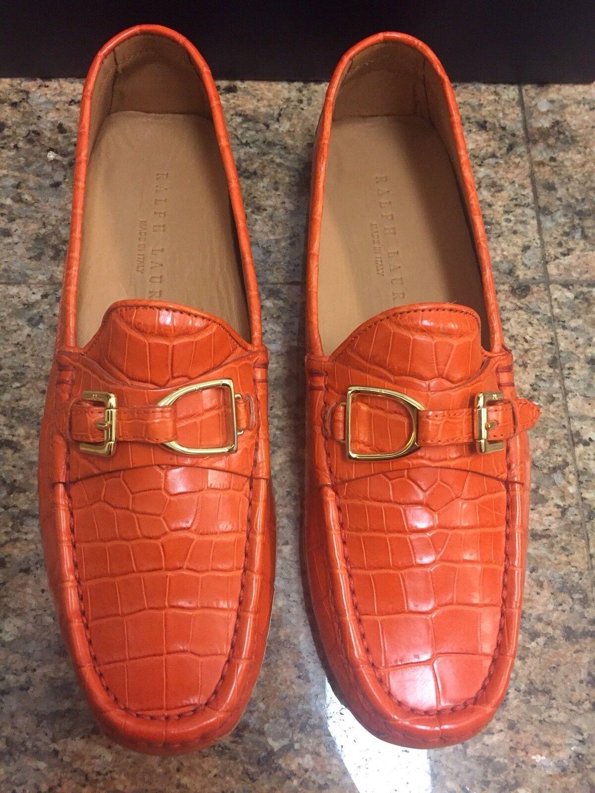 Ralph Lauren RL Genuine Driving Crocodile Orange Driving Genuine Shoes NIB Scarpe classiche da uomo 3c03e7