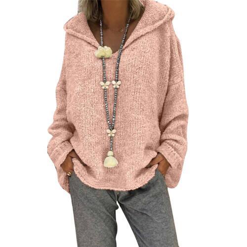 Women Long Sleeve Winter Heart Knitted Sweater Loose Pullover Knitwear Hooded