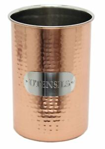 Image Is Loading Sy Hammered Metal Copper Kitchen Utensil Holder