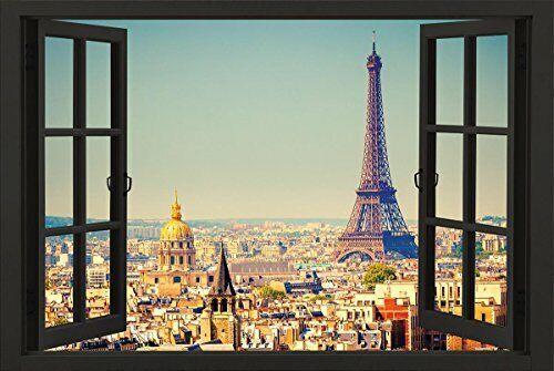 Paris Open Window Skyline 36x24 Eiffel Tower Art Print Poster