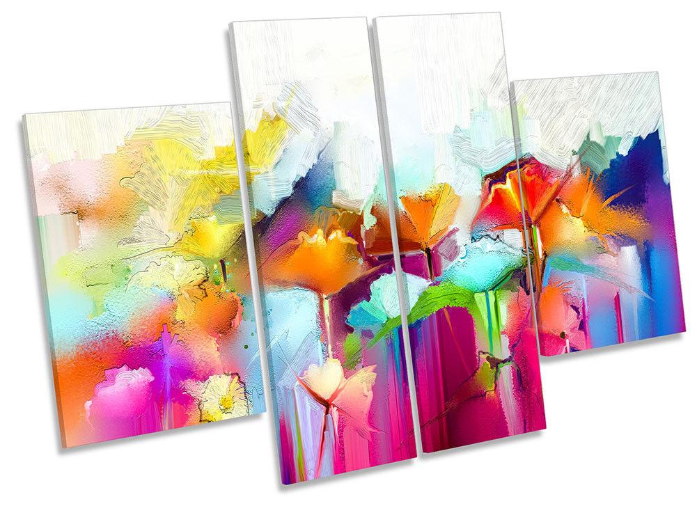 Lienzo Enmarcado Abstracto Arco Iris Floral Abstracto Enmarcado Impresión cuatro Panel Pared Arte 133a05