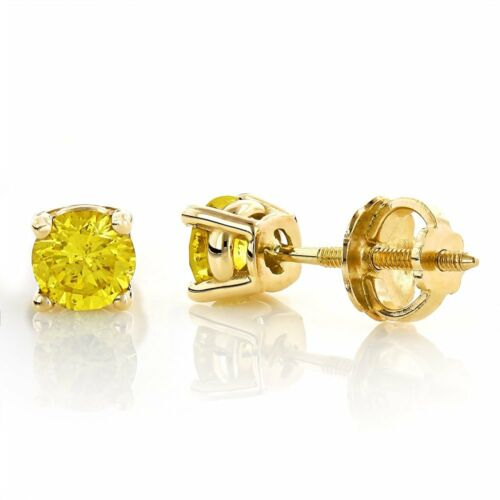 4.5Ct Round Canary Yellow Solid 14K Yellow Gold Stud ScrewBack Earrings