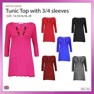 New-Ladies-Women-3-4-Sleeves-Plain-Tunic-Top-Casual-Formal-Necklace-Sizes-12-20
