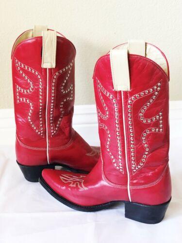 FRYE Women Silver Stud Red Cowboy Western Boots Si